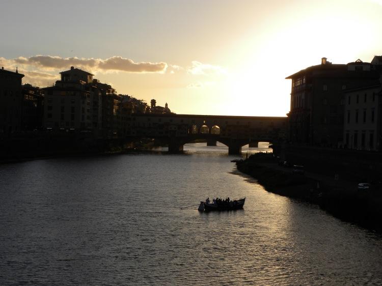 Sonnenuntergang am Arno