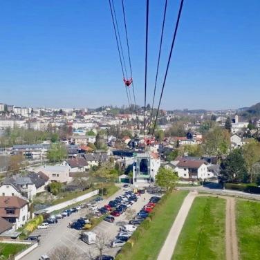 Fahrt mit der Grünberg Seilbahn Ausblick